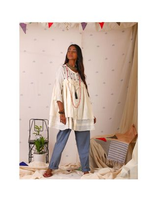 White Two Layers Tassels Top