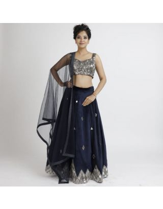 Dark Blue Mirror Work Lehenga Set
