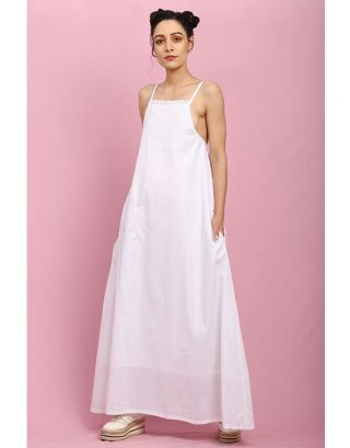 White Light Frill Maxi Dress