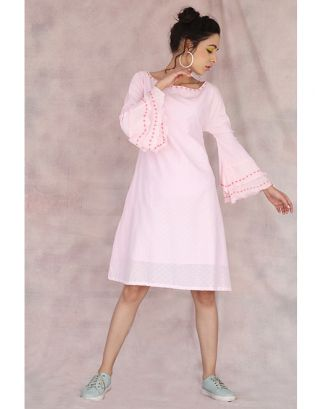 Light Pink Frill Sleeve Dress