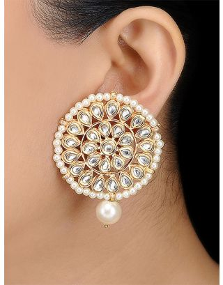 Kundan Pearl Round Earrings