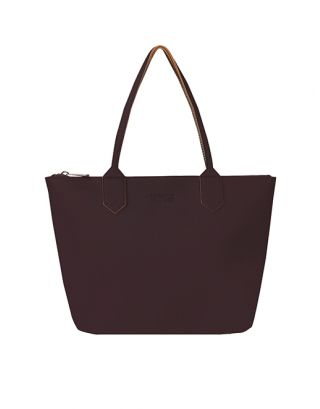 Purple leather tote bag