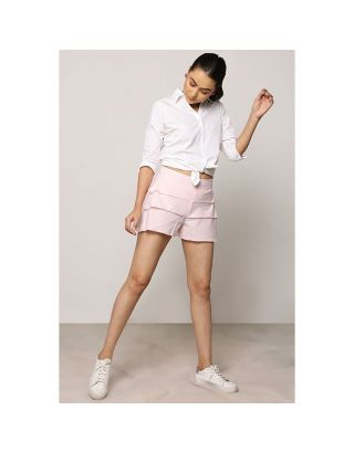 Baby Pink Frill Layered Shorts