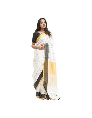 Black and White Checked Saree