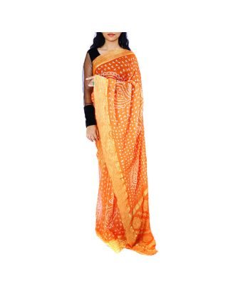 Orange Chiffon Bandhani Saree