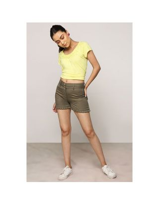 Khaki Green Hem Pleated Shorts