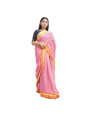 Pink Checked Saree