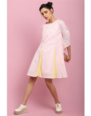 Baby Pink and Yellow A-Line Dress