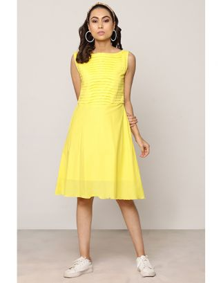Yellow Pleated Aline Dress
