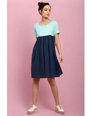 Turquoise and Navy Blue Gathered Dress