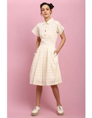Off White Closed Collar Buttoned Dress