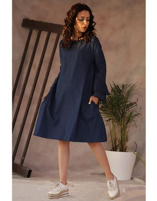 Blue Frill Sleeve Dress