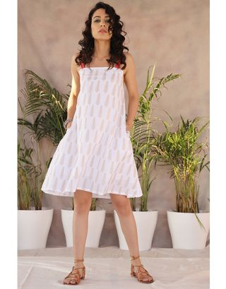 White Straight Spaghetti Dress