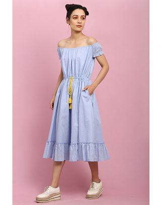 Sky Blue Off-Shoulder Tie Up Dress