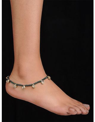 Green Beaded Kundan Anklets
