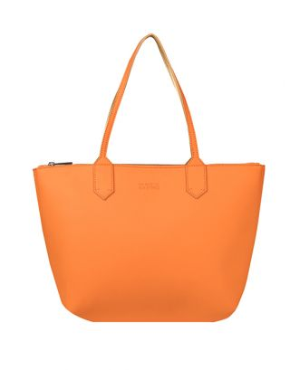 Faux Leather Orange Tote Bag