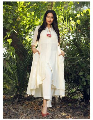 Cream Low-High Kurta