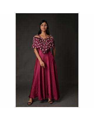 Wine Ruffle Top Gown