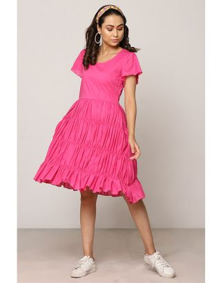 Pink Gathered Dress