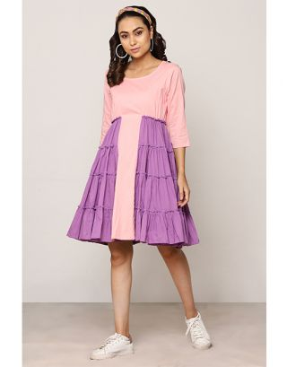 Pink and Purple Gathered Dress