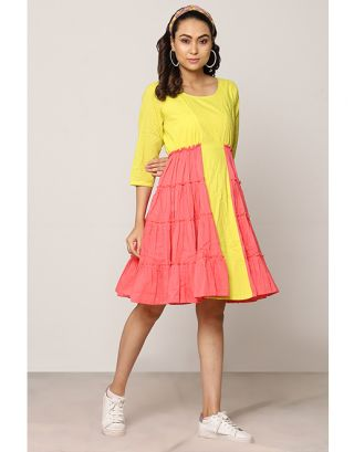 Yellow and Pink Gathered Dress