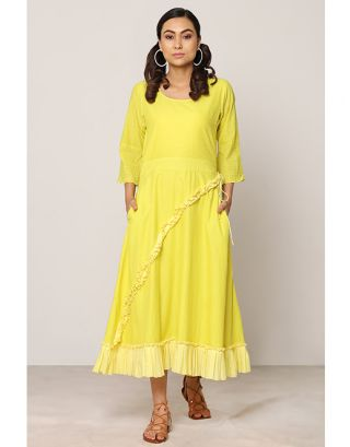 Yellow Gathered Maxi Dress