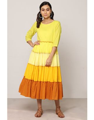 Yellow Shaded Maxi Dress