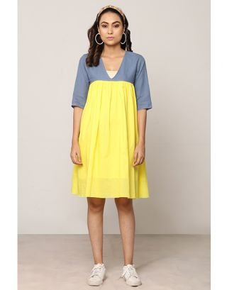 Yellow and Blue Box Pleated Dress