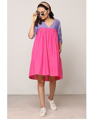Blue and Pink Box Pleated Dress
