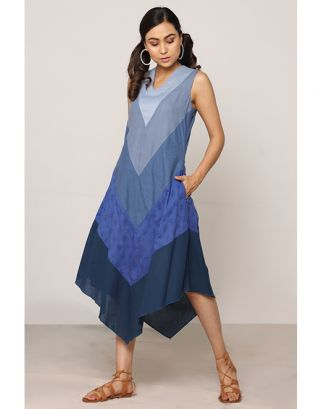 Blue Shaded Assymetrical Dress
