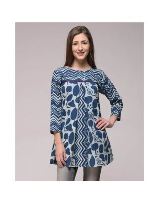 Cotton Printed Pleated Top