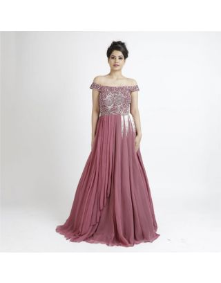 Pink Off Shoulder Georgette Gown