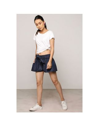 Blue Denim Waist Tie Up Shorts