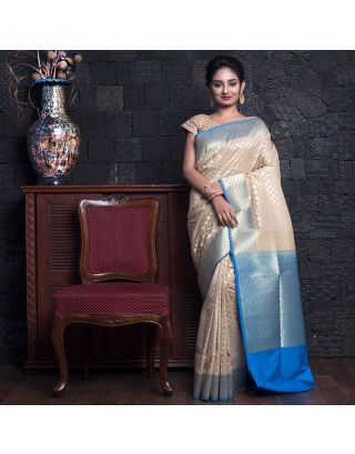 Beige And Sky Blue Benarasi Saree