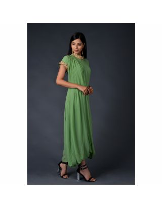 Green georgette drape gown