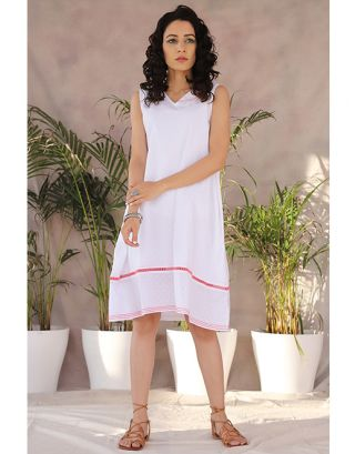 White Butterfly Collared Dress