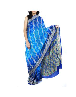 Blue Shaded Bandhani Saree