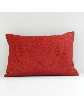 Red Embroidered Cushion Cover