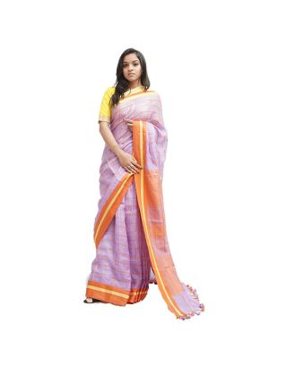 Lavender and Orange Checked Saree
