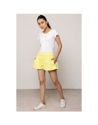 Lemon Yellow Box Pleated Shorts