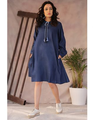 Denim Blue Baloon Sleeve Dress