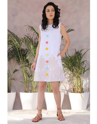 White Retro Tunic Dress