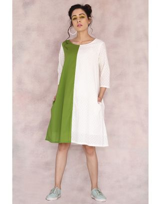 White & Green Cotton Dress