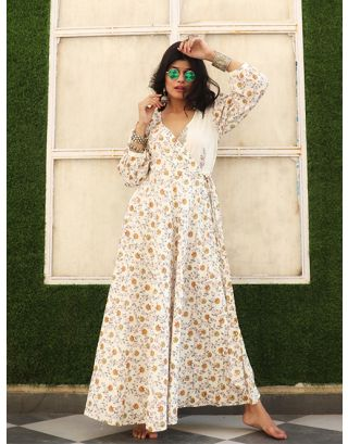 White Floral Printed Angarkha Dress