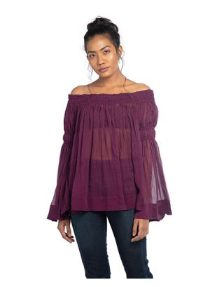 Wine Off Shoulder Top