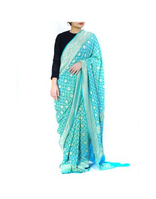 Powder Blue Bandhani Saree