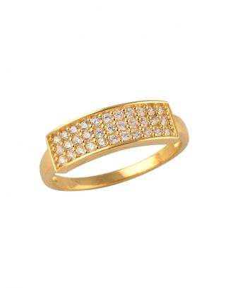 Gold Zircon Bar Ring