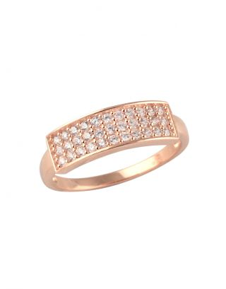 Rose Gold Zircon Bar Ring