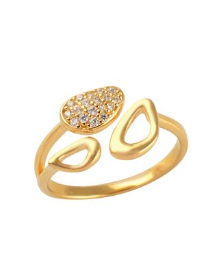 Gold Zircon Designer Ring