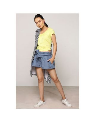 Grey Blue Waist Tie Up Shorts